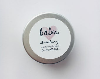 Moisturising, Handmade, Natural Lip Balm, Lip Protection, Strawberry Flavour Lip Balm, Made From Shea Butter, Cocoa Butter, Beeswax