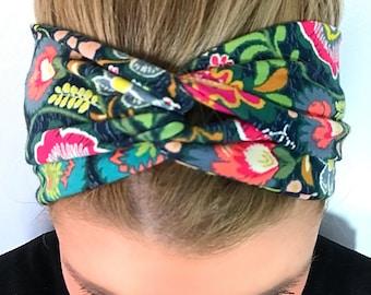 Indie Folk Turban Headband - Boho Headband - Headbands for Women - Floral Turban Headband - Knot headband Adult - turban headband women