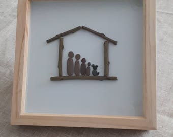 Pebble Art picture - Family