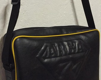 Area 7 laptop messenger bag with hand stitched logo