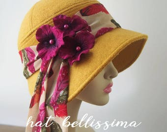 SALE yellow 1920's  Hat Vintage Style hat winter Hats hatbellissima ladies hats millinery hats cloche Hats wool hats