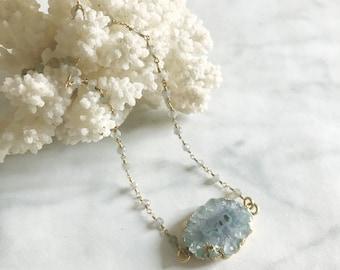 PEARL - collier ras de cou, chaine, pierre gemmes - labradorite, quartz - collier choker - bijoux boho, gri-gri - collier pierre, quartz