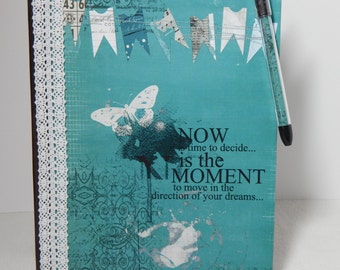 Now is the Moment - Altered Composition Notebook / Journal
