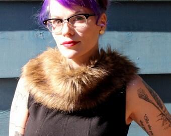 SALE Vintage Mink Collar Scarf// Brown Fur Silk Lined // Beautiful Rich Brown Fur 1930's// Women's Vintage Accessories// Evening Wear