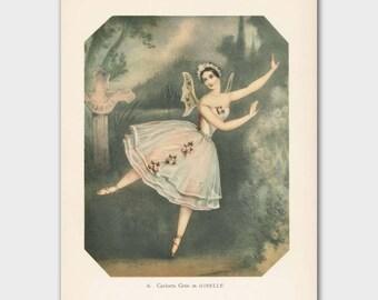 "Fairy Art, Vintage Fantasy Decor (1940s Ballerina Print, Victorian Wall Art) --- ""Giselle"""