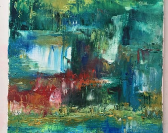 Blue Rain - Abstract oil painting on canvas, varnished 10x8
