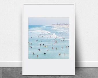 Beach Print, Printable Wall Art, Ocean Print, People Swimming, Photography Print, Ocean Art, Beach Decor, Ocean Waves, Coastal Decor, Summer