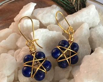 Lapiz Lazuli Pentacle Earrings