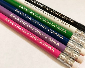 Pencils, Save the Oxford Comma Pencils, Grammar Pencils, Nerdy Gifts for Her, Nerdy Gifts for Him, College Graduation Gifts, Writer Gifts