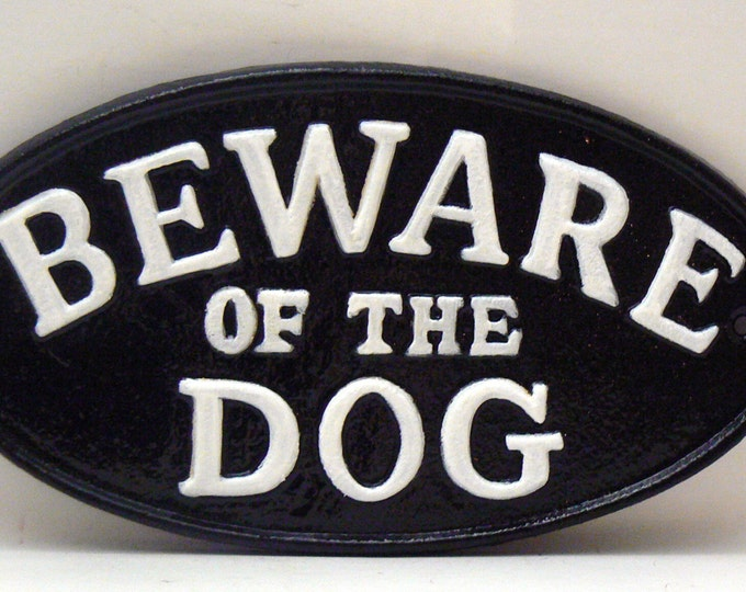 Beware of the Dog Cast Iron Sign Black White Gate Fence Home Decor