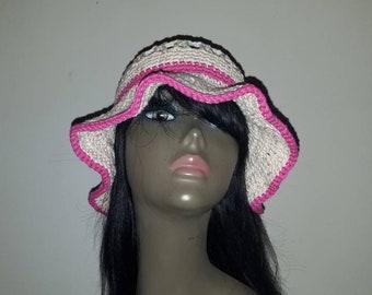 Woman's Crochet Cotton sunhat/Floppy Hat/Beach Hat.