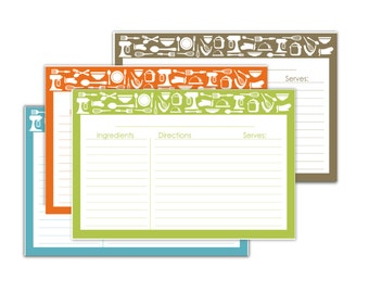 Kitchen Theme 4x6 Lined Recipe Cards no.854 -digital