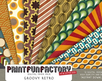 Retro scrapbook paper - Groovy retro seventies patterns - 12 digital papers (010) INSTANT DOWNLOAD