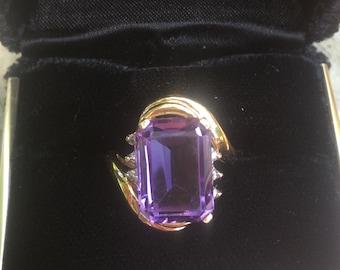 Huge Amethyst and Diamond 14k ring