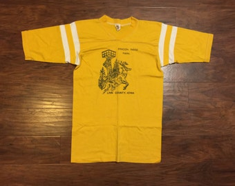 70s iowa v neck 3/4 sleeve baseball tshirt