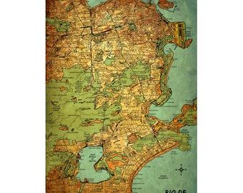 RIO DE JANEIRO Vintage Map 15E - Handmade Leather Travel Photo Album - Travler Art