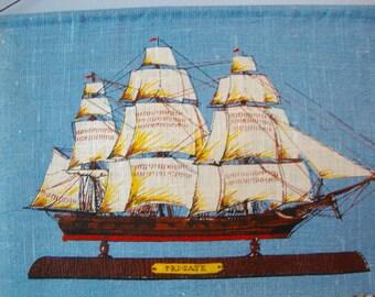 1976 Calendar Towel Vintage Linen Kitchen Ship Towel Keepsake Collectible