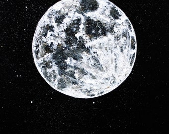 Acrylic painting of super-moon on canvas