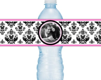 Wedding Photo Water Bottle Labels - CUSTOM Printable Damask Water Bottle Labels, YOU print, you cut, DIY water bottle labels