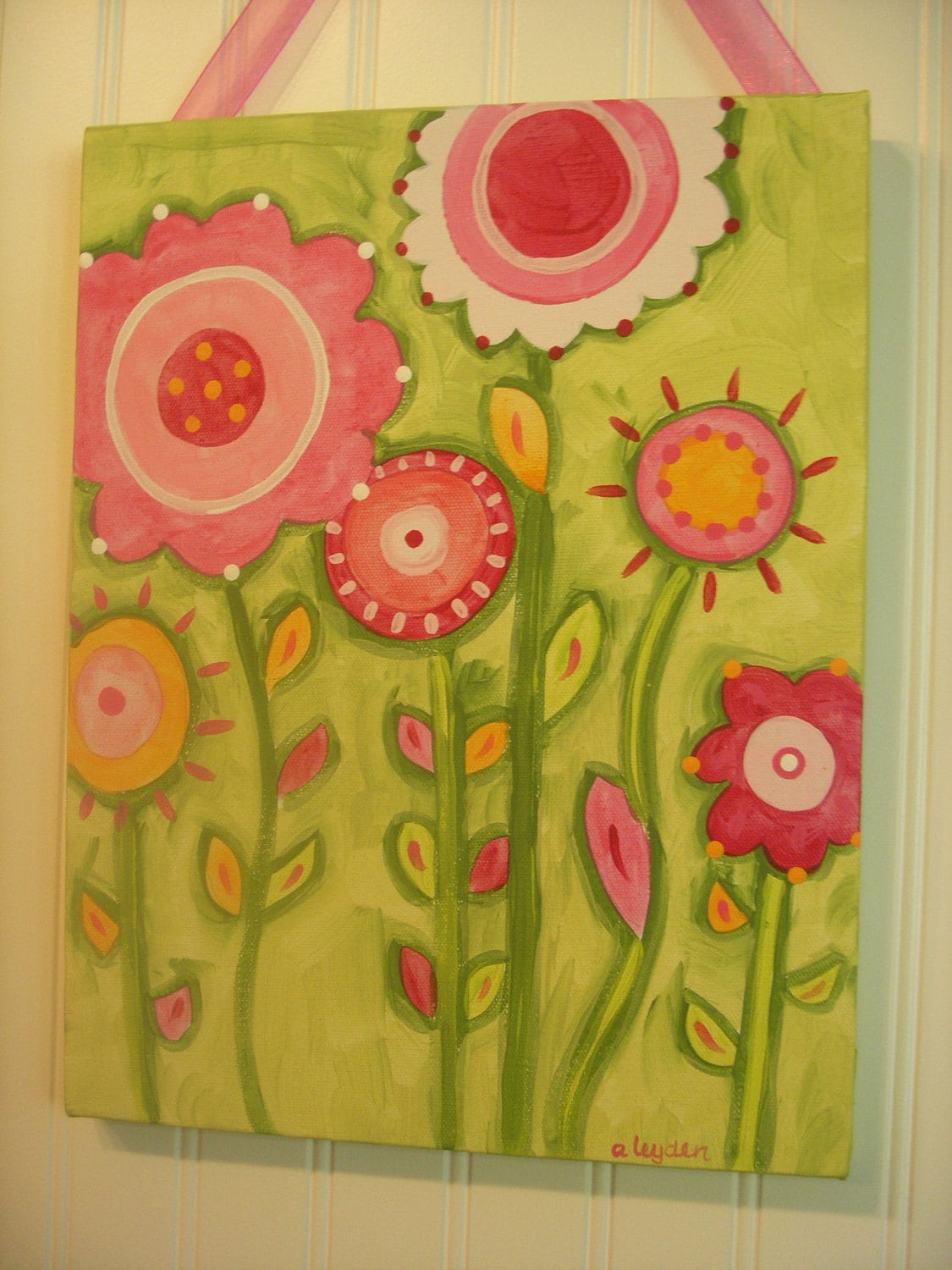 Flower garden canvas painting 11 x 14 Original hand painted