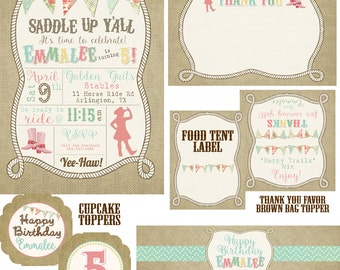 Saddle Up Cowgirl Birthday Party Pack
