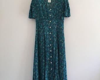 Vintage 90's Blue Floral Button Front Dress S M