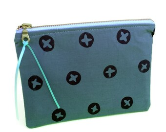 Dark green pouch, circle x pattern, zipper purse, bags and purses, makeup case, purse organizer, moss green, fabric pouch, fabric purses