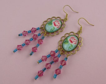 Blue and Pink Rose Chandelier Earrings - old fashioned, vintage style, granny cottage chic, dangly, feminine, retro, goldtone, flower, sweet