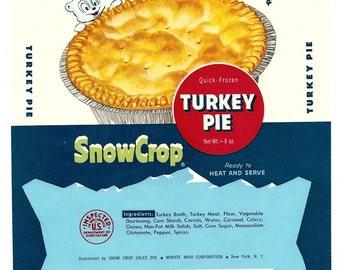 5 Old SNOW CROP FROZEN Quick-Turkey Pie Labels Minute Maid Corporation New York,