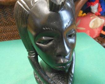 "AFRICAN Ebony Wood WOMAN Head Statue..Outstanding detail..7"" height"