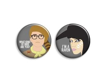 Moonrise Kingdom Badges - Set of 2 Wes Anderson Buttons or Magnets