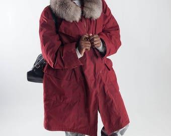 Red 90s lady parka / Vintage eskimo fur parka / Vintage ladies parka with fur collar / Ladies winter coat / Vintage winter coat / Size XL