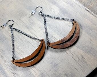Geometric Earrings, Wood Dangle Earrings, Half Moon Wood Earrings, Chandelier Earrings