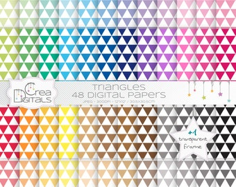 Triangles rainbow paper pack - 48 digital papers - INSTANT DOWNLOAD