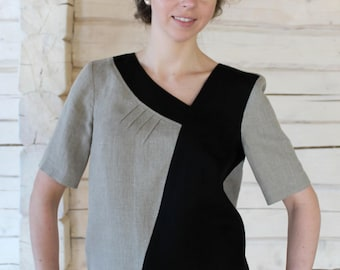 Loose Short Sleeve Two Colour Linen Tunic Top