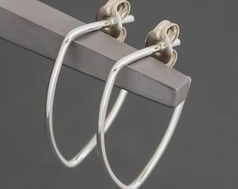 Minimalist Leaf Shape Hoop Earrings Sterling Silver. Small. Boho Urban Gypsy Sleek Elegant. Eco Recycled Reclaimed Everyday Design