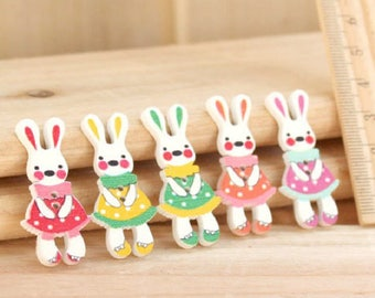 5 buttons 2 holes of different colors wooden Bunny