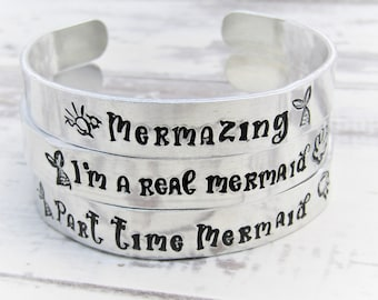 Mermaid Inspired Hand stamped Cuff Bracelet, Mermaid Bracelet, Mermaid Gifts, Siren of the Sea, Childrens Gifts, Mermaid Jewellery