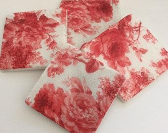 Set of 2 Marble Coasters~Red Rose/Floral coasters/Floral gift idea/Floral decor/Floral tile art/Red Rose decor/Rose drink Coasters