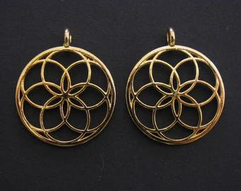 Seed of Life Round Pendant, Gold Plated, Zinc Based Alloy, 3.5cm X 3cm, Set of 2  (C103)