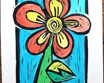 Pansy, Linocut hand colored print, Flower