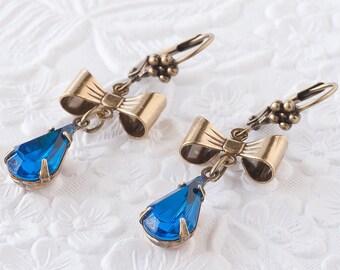 Capri Blue Earrings, Blue Earrings, Bow Earrings, Dangle Earrings, Blue Rhinestone Earrings, Teardrop Earrings, Swarovski Crystal Jewelry