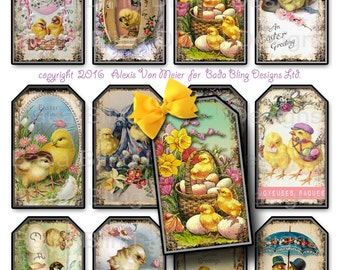 Happy Easter Chick A Dee  2 ,  gift tags,  INSTANT Digital Download at Checkout, printable gift tags, Easter collage sheets