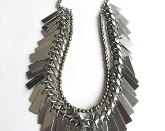 Glam Rock Statement Necklace with Swarovski Crystal and Pyrite