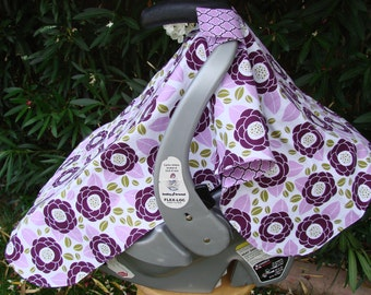 Baby Car Seat Canopy - Baby Car Seat Cover - Purple White Car Seat Cover - Girls Car Seat Canopy - Baby Shower Gift - Floral Car Canopy