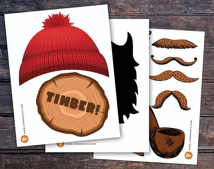 Lumberjack photo props, Lumberjack decor, Woodland party, flannel, woodland shower, woodland birthday, beard prop, Timber