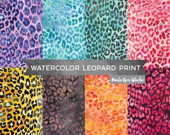 Watercolor Leopard Print Animal Pattern Digital Paper, Animal Print Digital Papers, Instant Download, Backgrounds