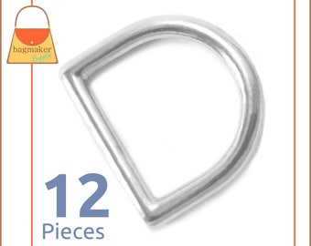 "1 Inch Cast  D Rings, Nickel Finish, 12 Pieces, Square End D Ring, Handbag Purse Making Hardware Supplies, 1"", RNG-AA107"