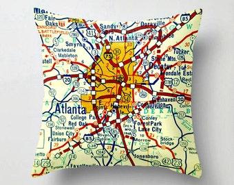 Atlanta Map Pillow Cover, Georgia Gift, Decorative Pillow,  Atlanta Gift, Map Pillow, Georgia Map Pillow, GA Map Art, Hotlanta Georgia Art