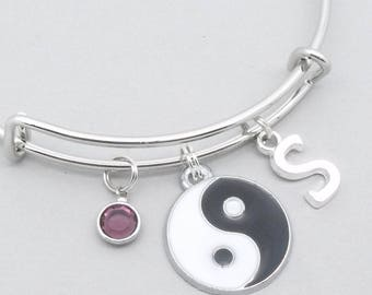 Yin Yang charm bracelet with monogram initial   personalised yin yang jewelry   yin yang bangle   yin yang gift